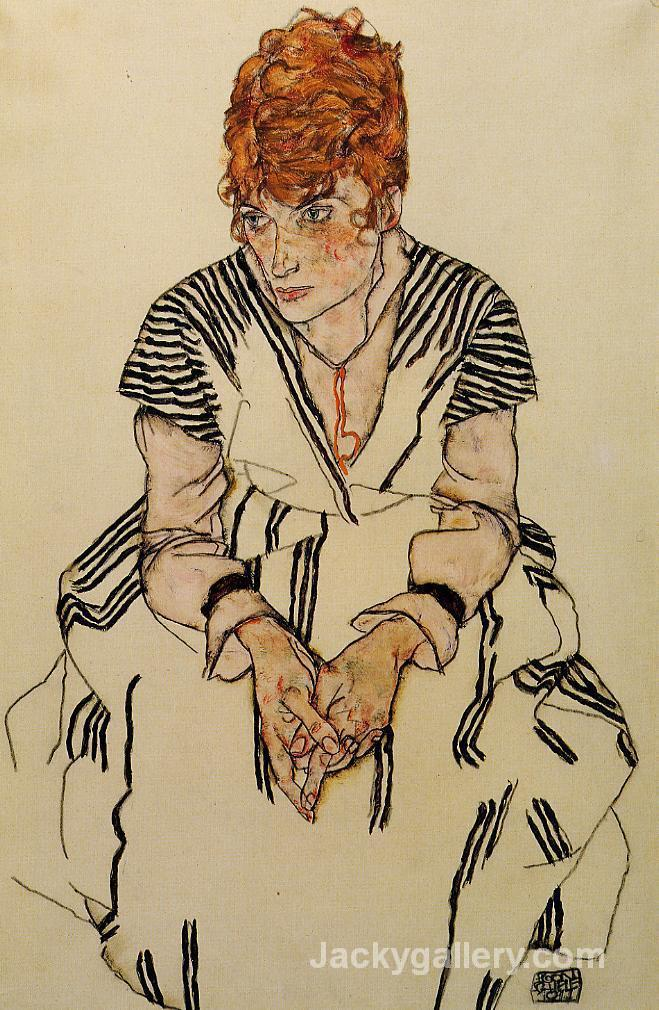 The Artists Sister in Law in a Striped Dress by Egon Schiele paintings reproduction
