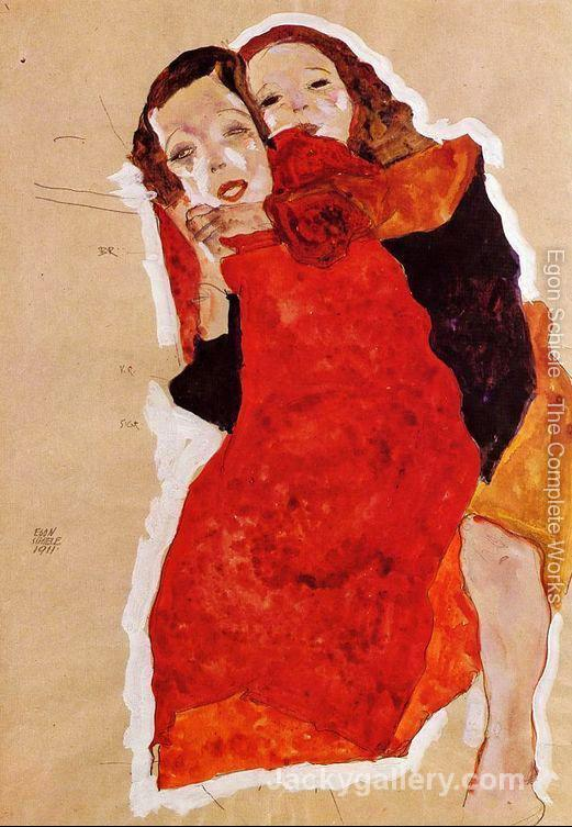 Two Girls by Egon Schiele paintings reproduction