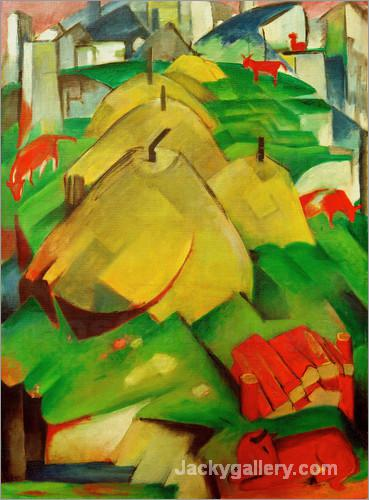 Alpenszene (Streuhocken) by Franz Marc paintings reproduction