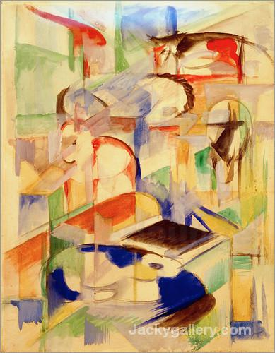 Animal Composition by Franz Marc paintings reproduction