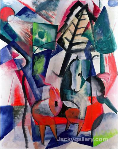 Animals Under Trees by Franz Marc paintings reproduction