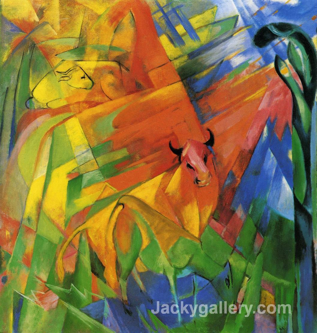 Animals in Landscape by Franz Marc paintings reproduction