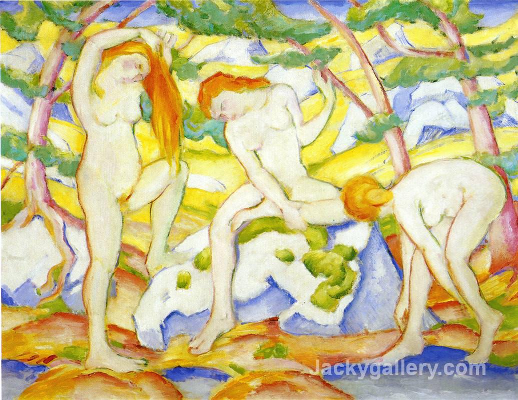 Bathing Girls by Franz Marc paintings reproduction