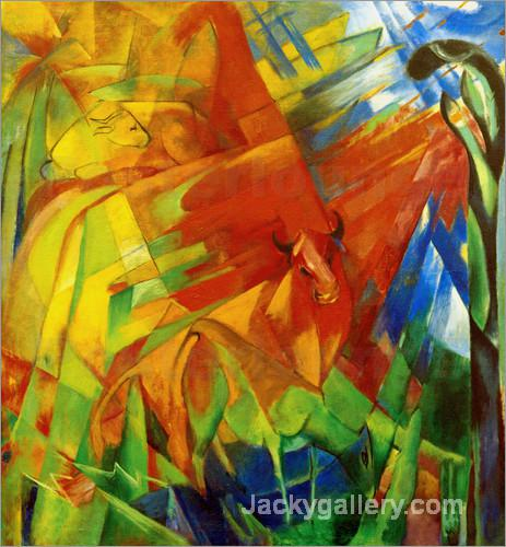 Bild mit Rindern II by Franz Marc paintings reproduction