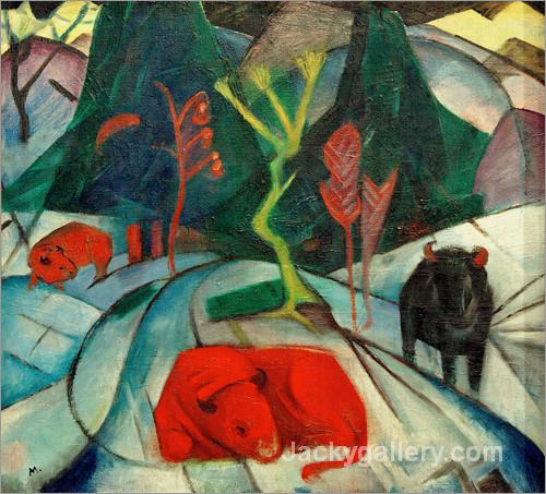 Bison in winter (Red Bison) by Franz Marc paintings reproduction