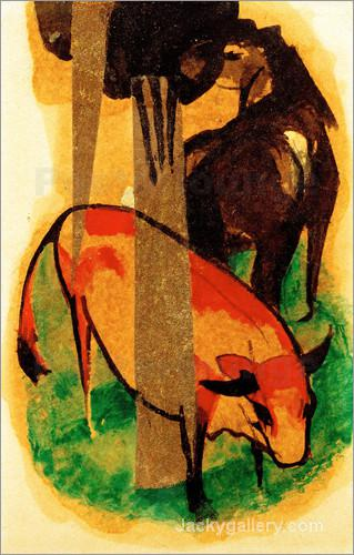 Black Brown Horse and Yellow Cow by Franz Marc paintings reproduction