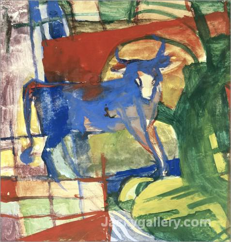 Blue Cow by Franz Marc paintings reproduction