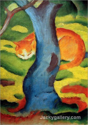 Cat under a tree by Franz Marc paintings reproduction