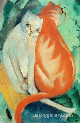 Cats, red and white by Franz Marc paintings reproduction