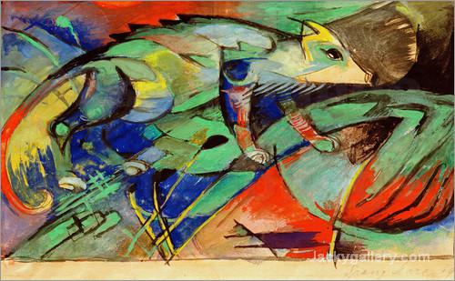 Chameleon by Franz Marc paintings reproduction