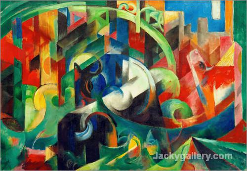 Cows (Painting with Cows I) by Franz Marc paintings reproduction