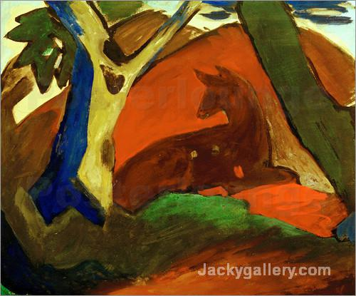 Crouching Deer by Franz Marc paintings reproduction