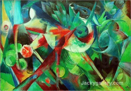 Deer in the Flower Garden by Franz Marc paintings reproduction