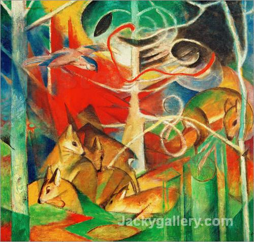 Deer in the Forest I by Franz Marc paintings reproduction