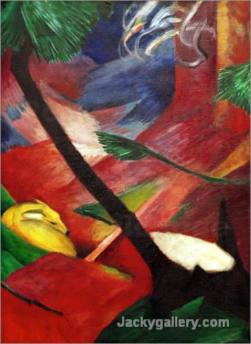 Deer in the Forest II by Franz Marc paintings reproduction