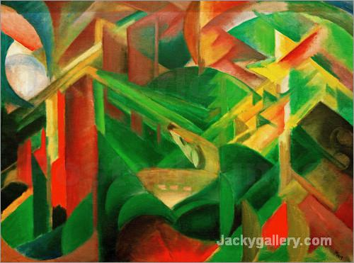 Deer in the Monastery Garden by Franz Marc paintings reproduction