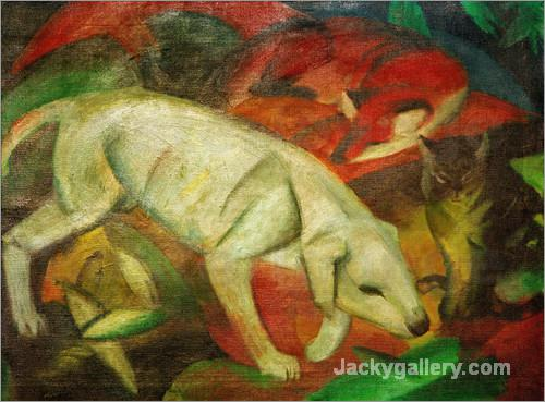 Dog, cat, fox by Franz Marc paintings reproduction