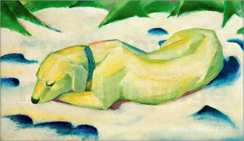 Dog lying in the snow by Franz Marc paintings reproduction