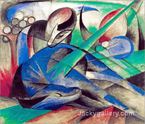 Dreaming Horse by Franz Marc paintings reproduction