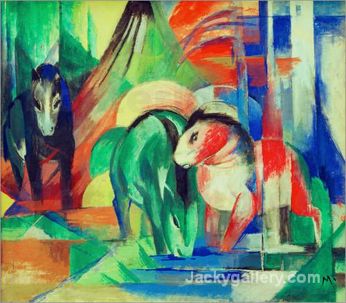 Drei Pferde an der Tranke by Franz Marc paintings reproduction