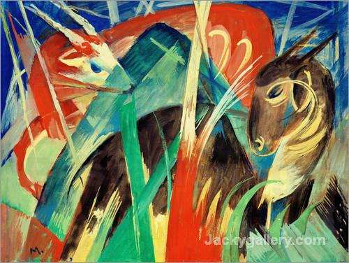 Fabeltiere I (Tierkomposition I) by Franz Marc paintings reproduction