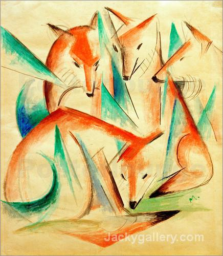 Four Foxes by Franz Marc paintings reproduction