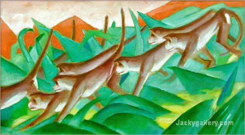 Graphic monkey frieze by Franz Marc paintings reproduction