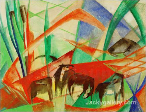 Landscape with black horses by Franz Marc paintings reproduction