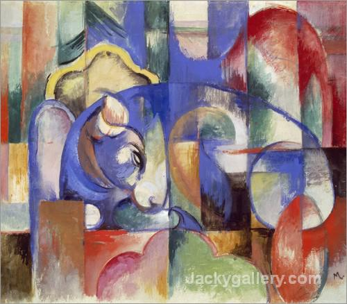 Lying bull by Franz Marc paintings reproduction