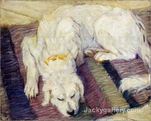 Lying dog (dog portrait) by Franz Marc paintings reproduction