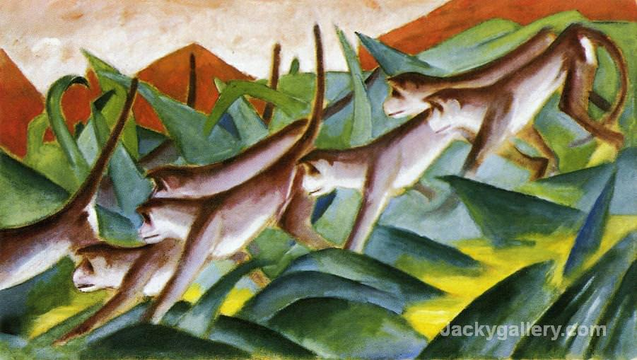 Monkey Frieze by Franz Marc paintings reproduction