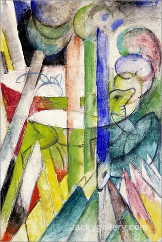 Mountain goats by Franz Marc paintings reproduction