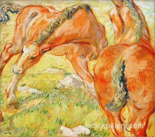 Mutterpferd und Fohlen by Franz Marc paintings reproduction