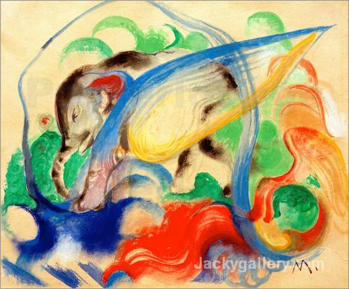 Mythical Creature (Grey Elephant) by Franz Marc paintings reproduction