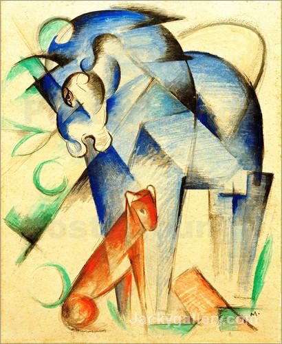 Mythical Creatures (Blue Horse and Red Dog) by Franz Marc paintings reproduction