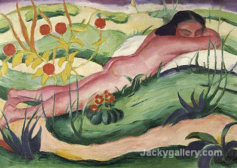 Nude Lying In The Flowers by Franz Marc paintings reproduction