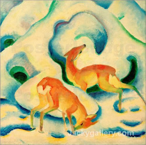Rehe im Schnee II by Franz Marc paintings reproduction