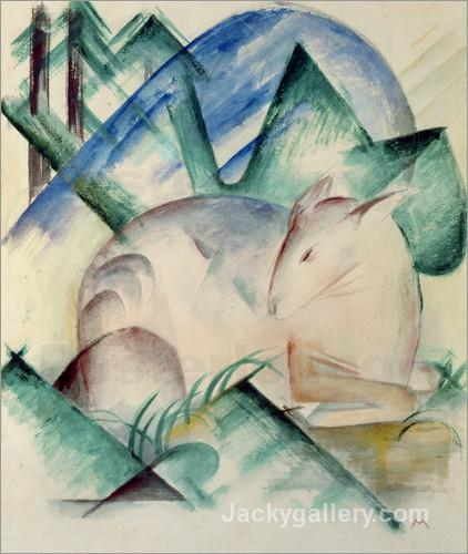 Sleeping Deer by Franz Marc paintings reproduction