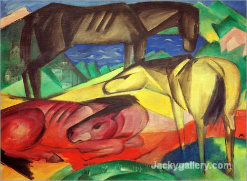 Three Horses II by Franz Marc paintings reproduction