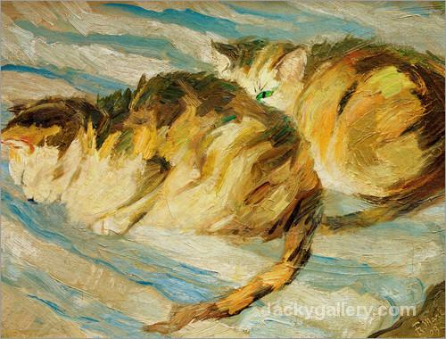 Two grey cats (cat study II) by Franz Marc paintings reproduction