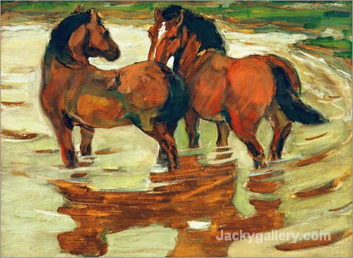 Two horses in the alluvial by Franz Marc paintings reproduction