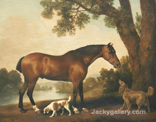 A Bay Hunter, A Springer Spaniel And A Sussex Spaniel by George Stubbs paintings reproduction