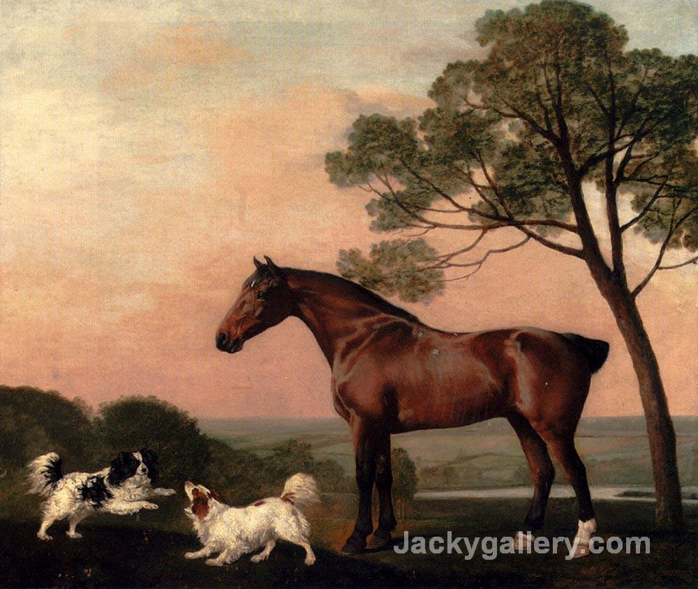 A Bay Hunter With Two Spaniels by George Stubbs paintings reproduction