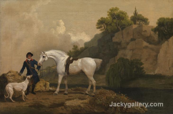 A Grey Hunter with a Groom and a Greyhound at Creswell Crags c. by George Stubbs paintings reproduction