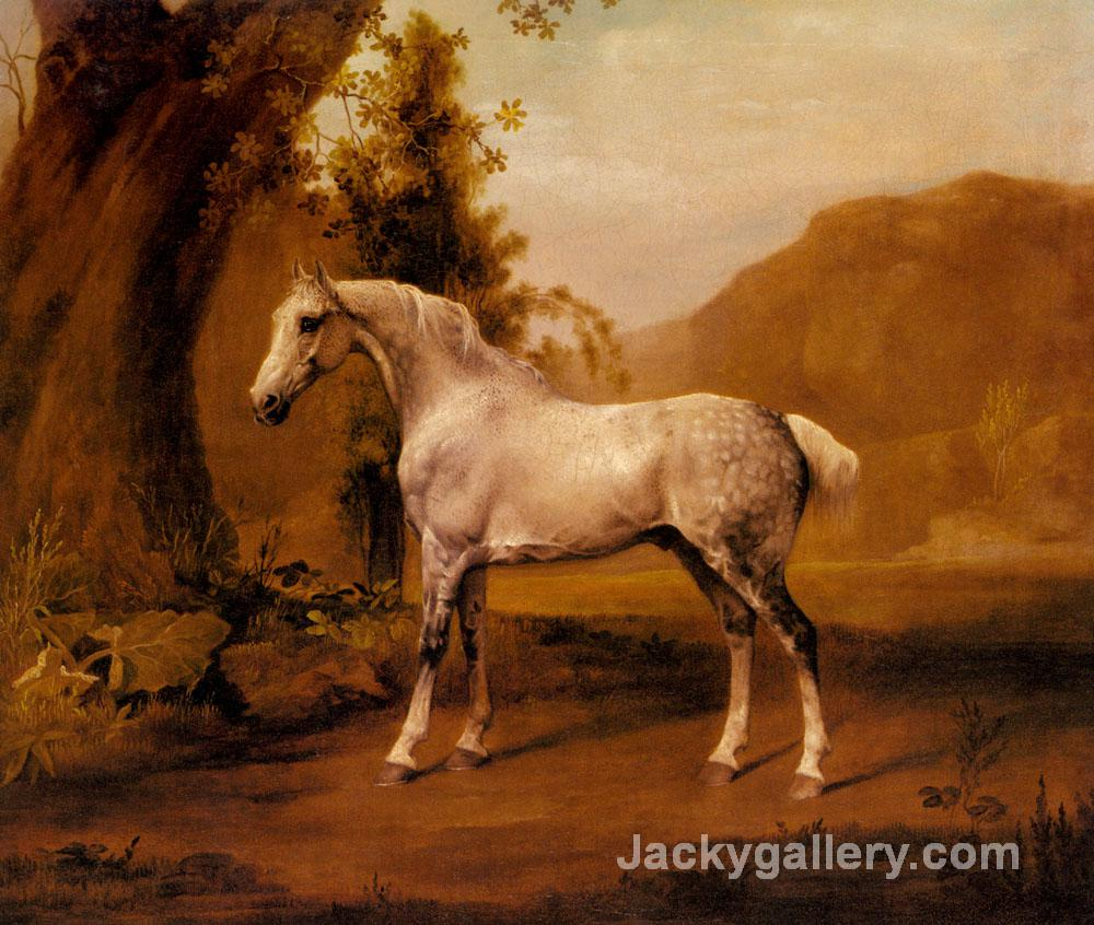 A Grey Stallion In A Landscape by George Stubbs paintings reproduction