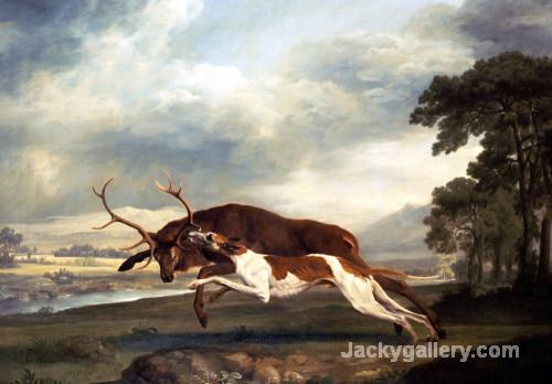 A Hound Attacking A Stag by George Stubbs paintings reproduction