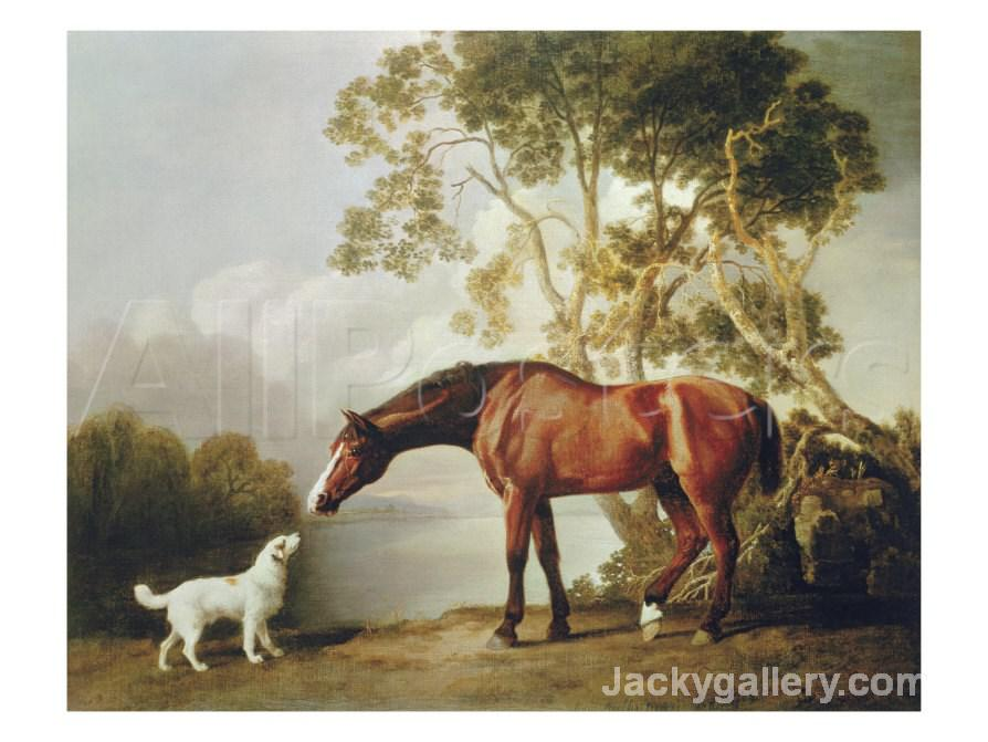 Bay Horse and White Dog by George Stubbs paintings reproduction