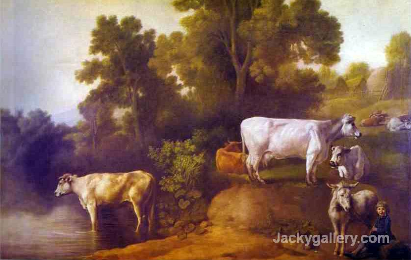 Cattle By A Stream by George Stubbs paintings reproduction