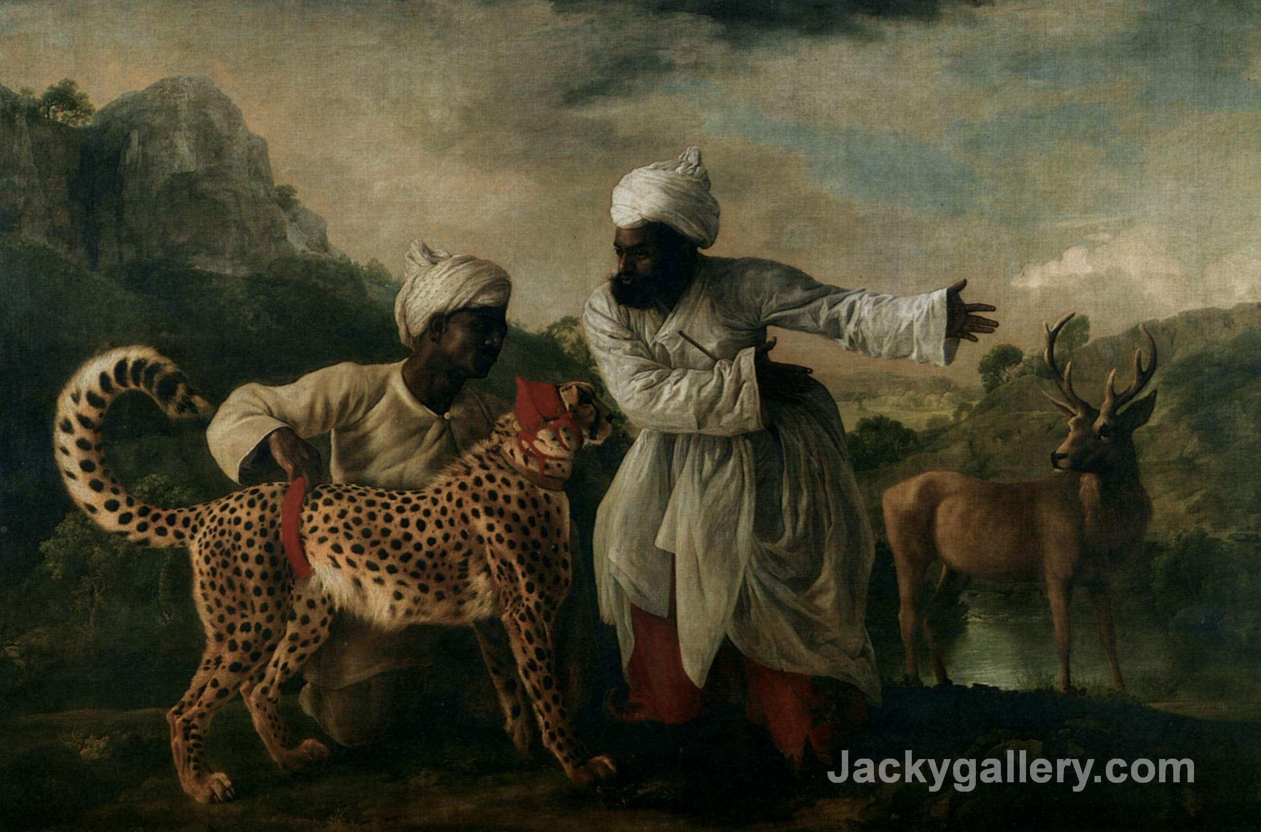 Cheetah With Two Indian Servants And A Deer by George Stubbs paintings reproduction