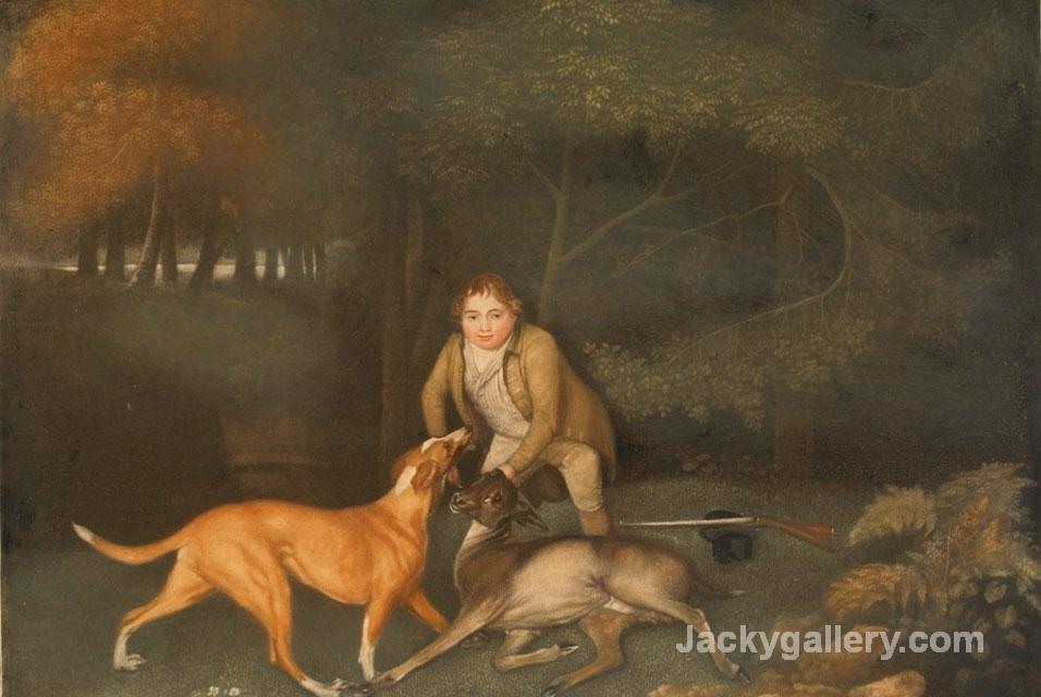 Freeman, The Earl Of Clarendons Gamekeeper, With A Dying Doe And Hound by George Stubbs paintings reproduction
